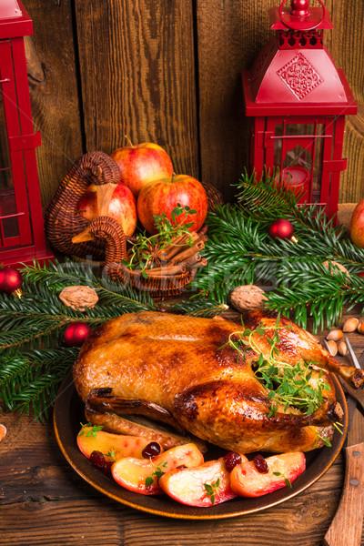 Stockfoto: Christmas · eend · vruchten · Rood · vlees · koken