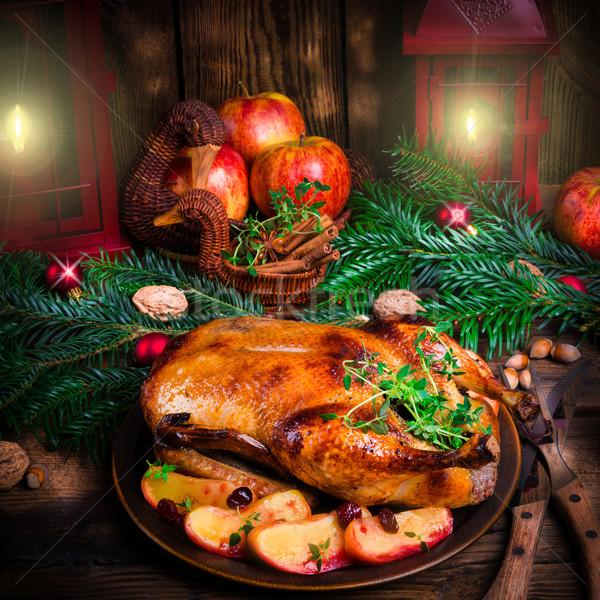 Noel ördek meyve kırmızı et pişirme Stok fotoğraf © Dar1930