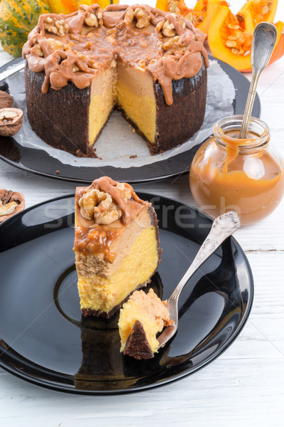 Pumpkin cheesecake with nuts Stock photo © Dar1930