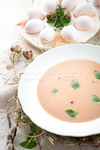 Aigre seigle soupe Pâques alimentaire dîner Photo stock © Dar1930