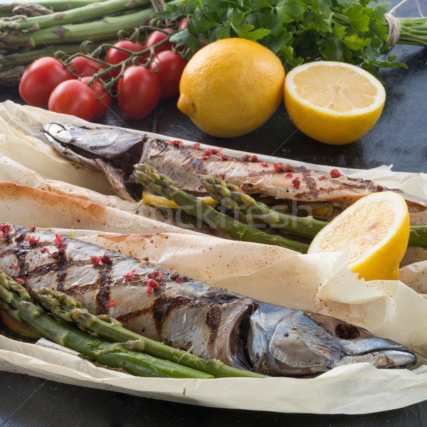 Stock photo: Grilled mackerel with asparagus