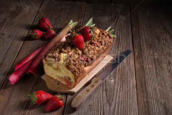 Rabarbar ciasto żywności drewna lata czerwony Zdjęcia stock © Dar1930