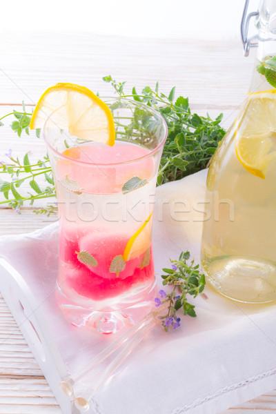Napój bezalkoholowy szkła pomarańczowy zabawy pozostawia relaks Zdjęcia stock © Dar1930
