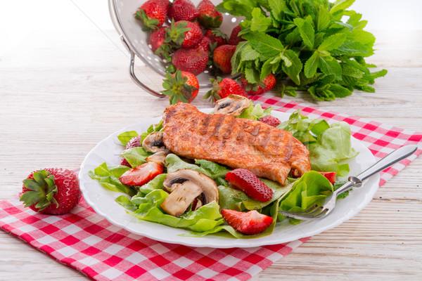 Stock foto: Steak · grünen · Salat · Essen · Fisch · home