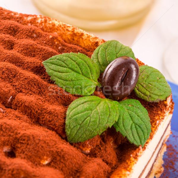 Tiramisu chocolate bolo queijo leite vermelho Foto stock © Dar1930