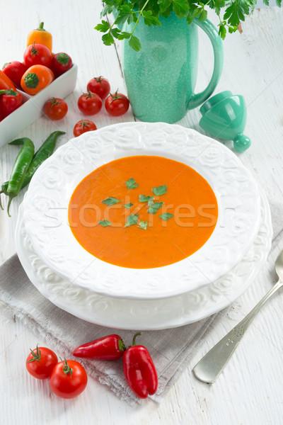 Páprica sopa pão tomates branco cozinhar Foto stock © Dar1930