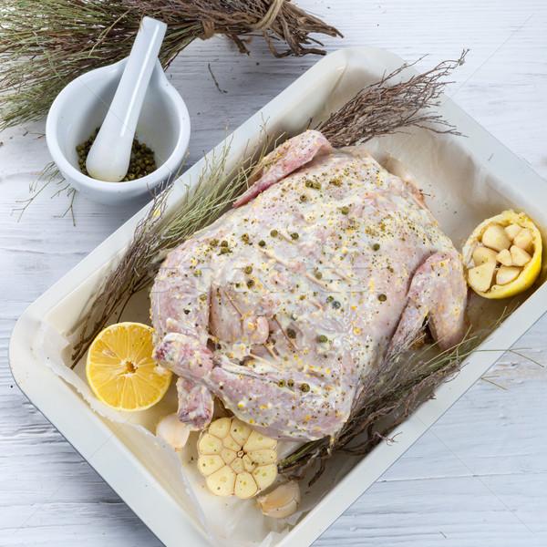 Stock fotó: Marinált · tyúk · vacsora · hús · citrom · saláta