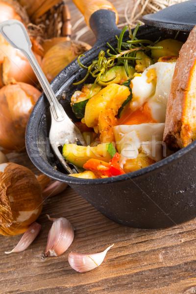 Erva batatas ovo frito comida saúde ovo Foto stock © Dar1930