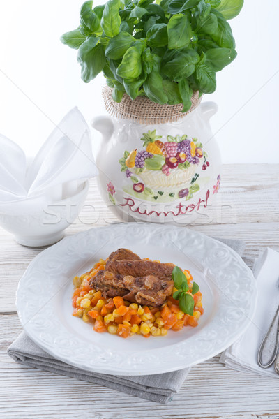 ribs with carrots and maize Stock photo © Dar1930