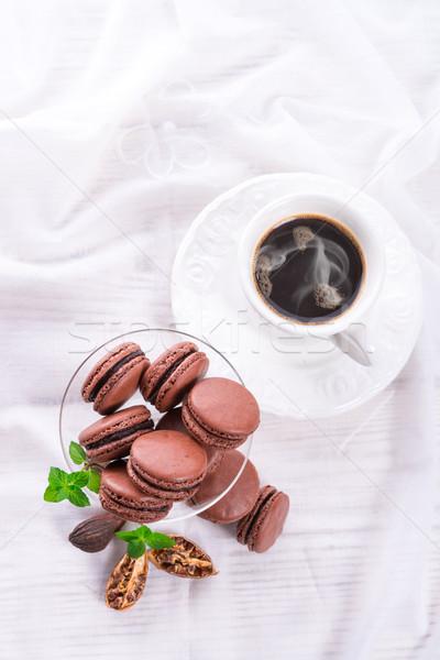 chocolate macarons with cardamom Stock photo © Dar1930