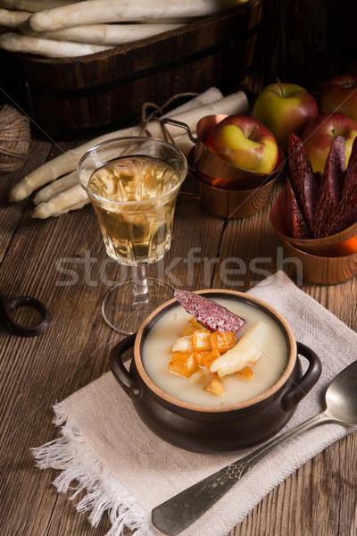 Asparagus Soup with Apple cubes Stock photo © Dar1930