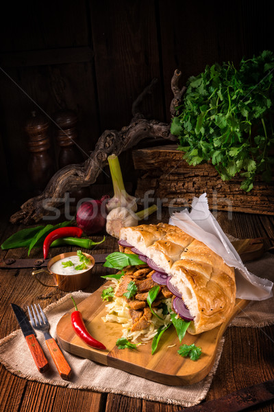 Stockfoto: Pita · wild · knoflook · voedsel · kip · plaat