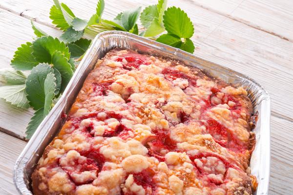 Strawberry buttermilk cake with pistachios Stock photo © Dar1930