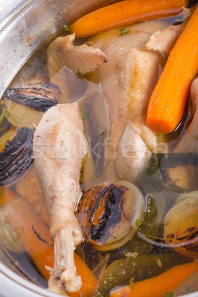鶏 ポット 金属 ディナー 肉 野菜 ストックフォト © Dar1930