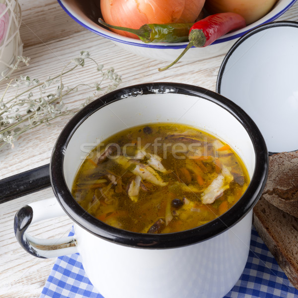 Stock photo: vegetarian parasol mushroom soup