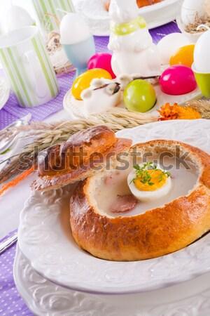 Zuur rogge soep ei brood diner Stockfoto © Dar1930