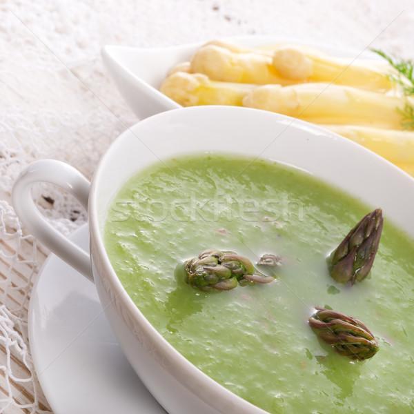 Verde espargos sopa saúde restaurante jantar Foto stock © Dar1930