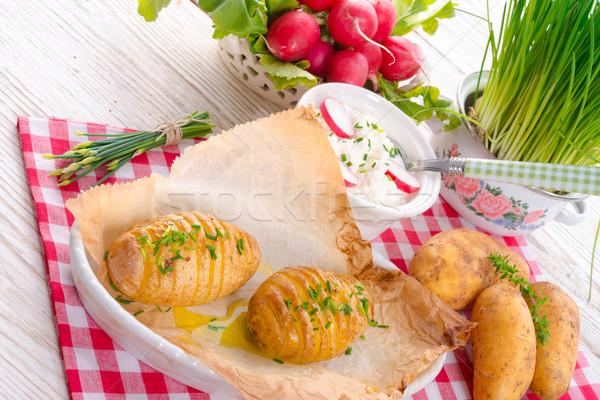 Stockfoto: Aardappel · voedsel · achtergrond · kaas · plaat · vork
