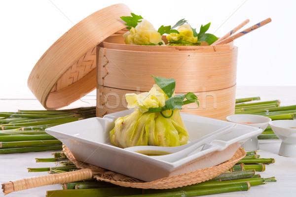 Stock fotó: Káposzta · rizs · szatyrok · étel · zöld · levelek