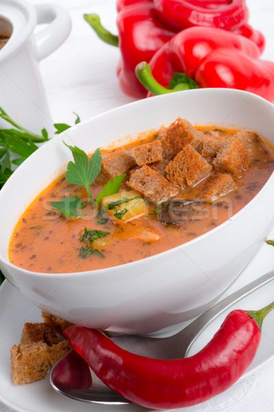 çorba et domates pişirme sıcak taze Stok fotoğraf © Dar1930