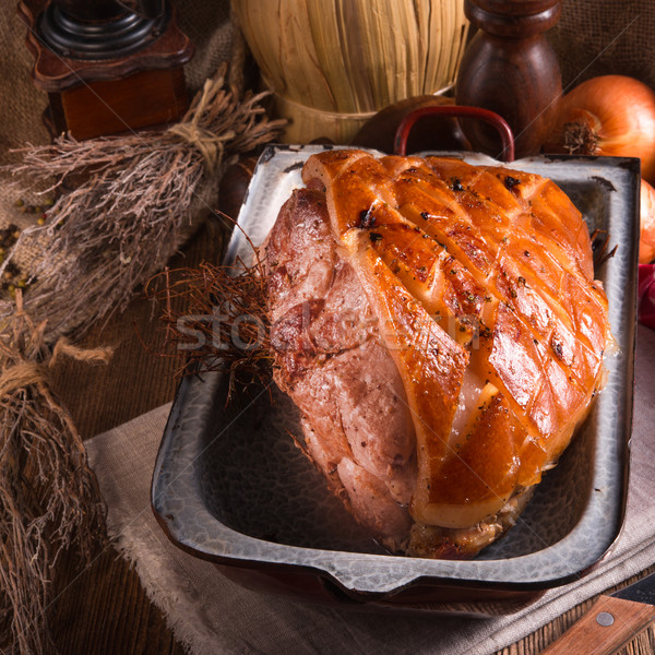 Stock photo: pork roast with crackling