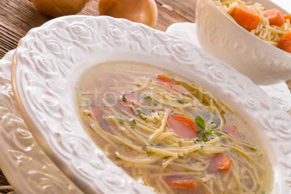 Noodle soup with beef broth Stock photo © Dar1930