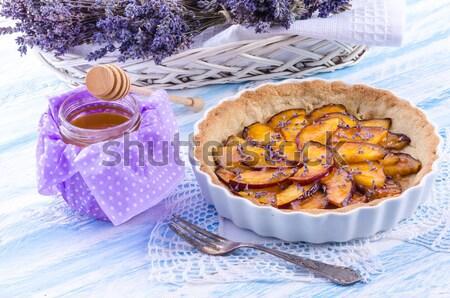 Nectarine lavande miel santé vert dîner Photo stock © Dar1930