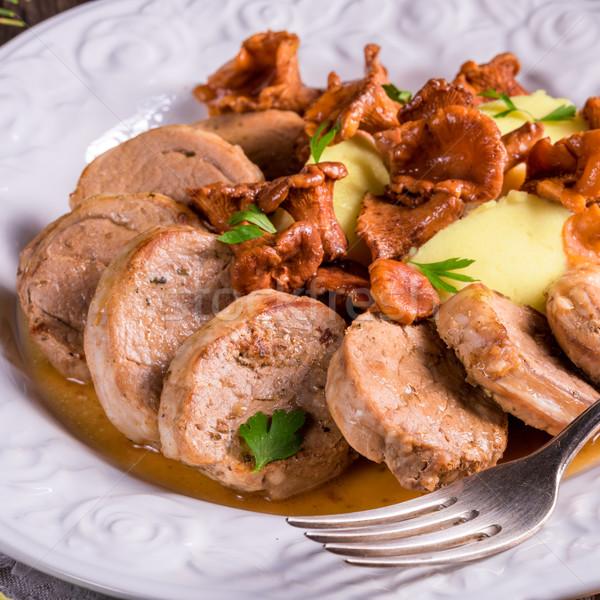 Kartoffeln Schweinefleisch Sauce Essen Tabelle Kochen Stock foto © Dar1930