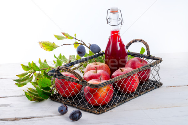 Elma erik meyve suyu yaprak sağlık arka plan Stok fotoğraf © Dar1930