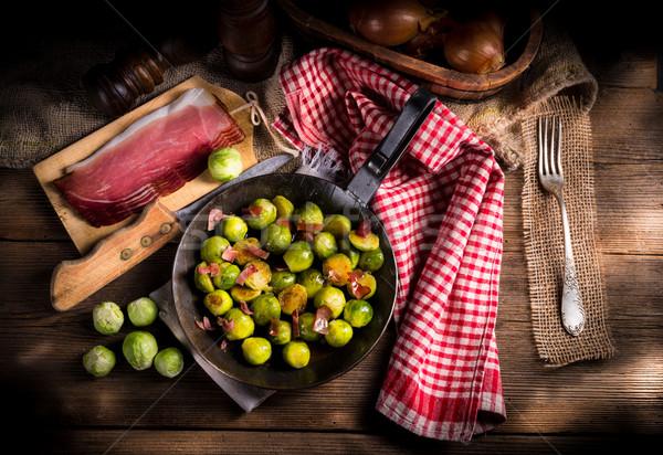 Méz Brüsszel sonka étel háttér főzés Stock fotó © Dar1930