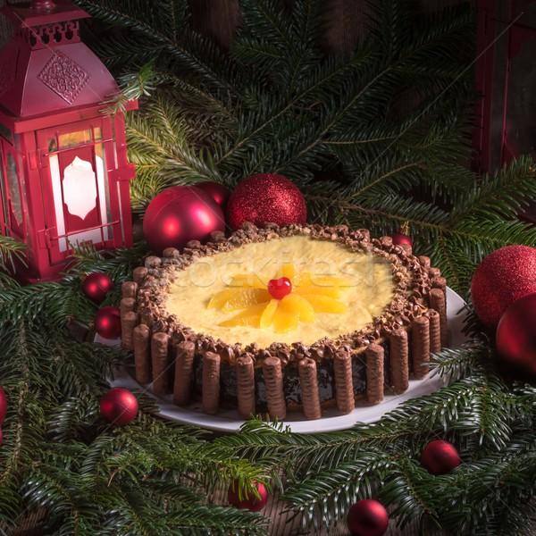 Cioccolato arancione cheesecake home rosso fuochi d'artificio Foto d'archivio © Dar1930