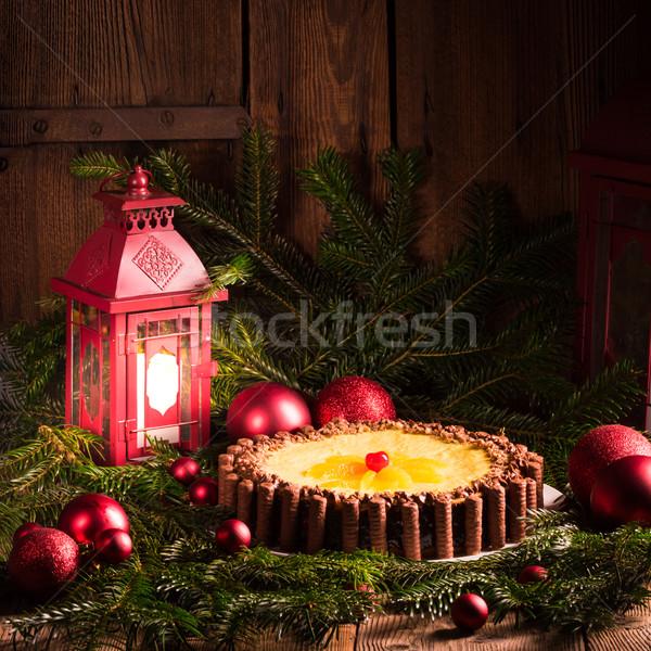 Chocolate laranja bolo de queijo casa vermelho fogos de artifício Foto stock © Dar1930