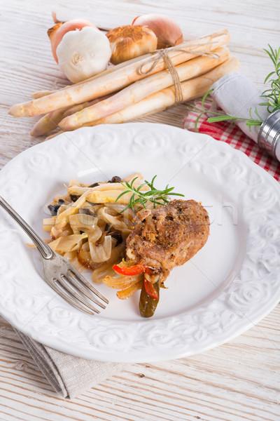 Vlees olijfolie voedsel home restaurant bar Stockfoto © Dar1930