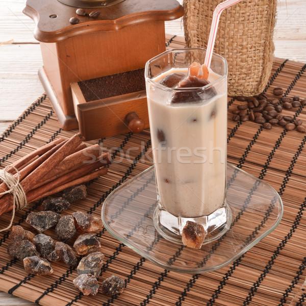ストックフォト: コーヒー · ガラス · 背景 · 表 · カフェ