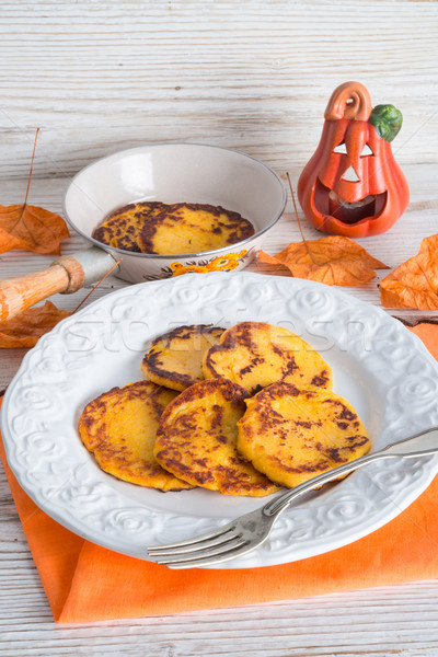 traditional Polish pumpkin yeast pancakes (Racuchy) Stock photo © Dar1930