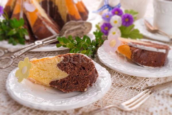 Пасху весны продовольствие счастливым кролик шоколадом Сток-фото © Dar1930