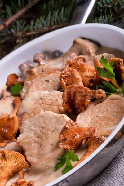 Pork tenderloin with Chanterelle sauce Stock photo © Dar1930
