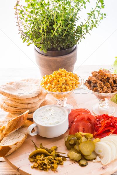 pita gyro ingredients Stock photo © Dar1930