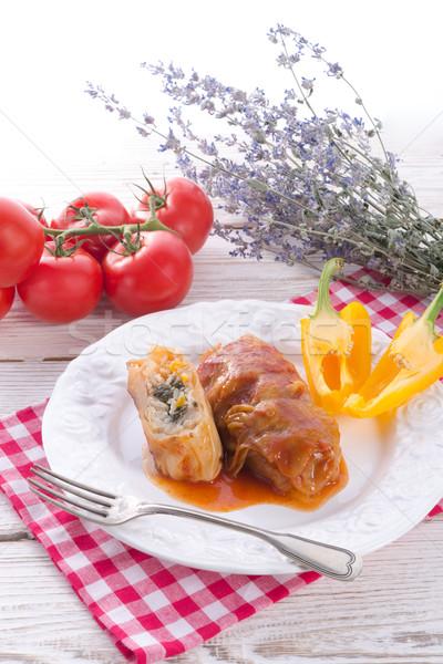 Vejetaryen lahana ıspanak salsa gıda Stok fotoğraf © Dar1930
