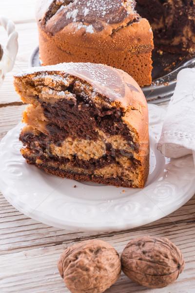 Marmer cake koffie chocolade eieren zwarte Stockfoto © Dar1930