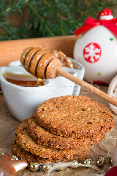 Stock photo: Christmas little places oatmeal