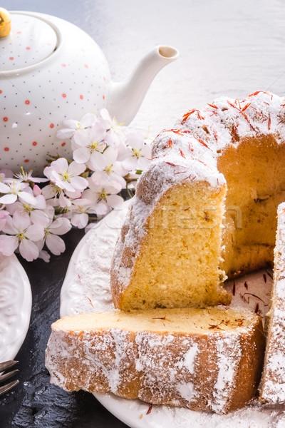 Saffraan Pasen voedsel ei cake plaat Stockfoto © Dar1930