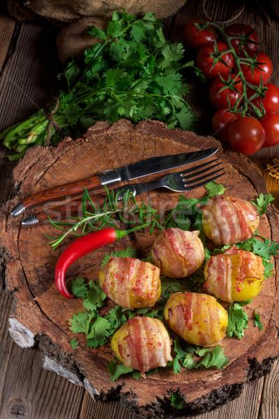 Zdjęcia stock: Ziemniaki · szynka · zielone · obiedzie · tablicy