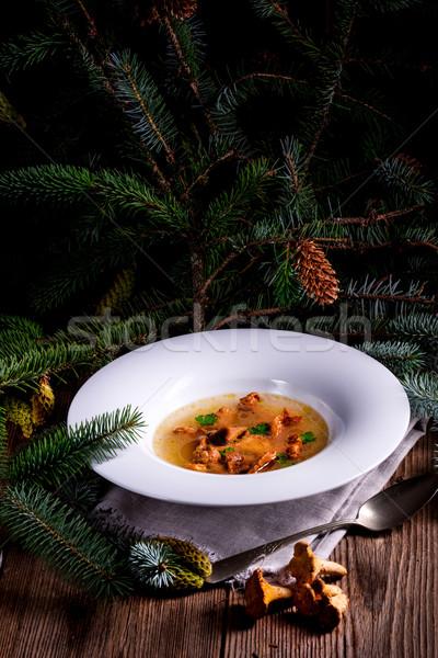 Gomba húsleves étterem zöld tányér fehér Stock fotó © Dar1930