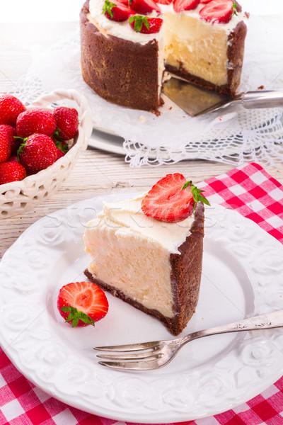 Stock photo: strawberry cheese cake