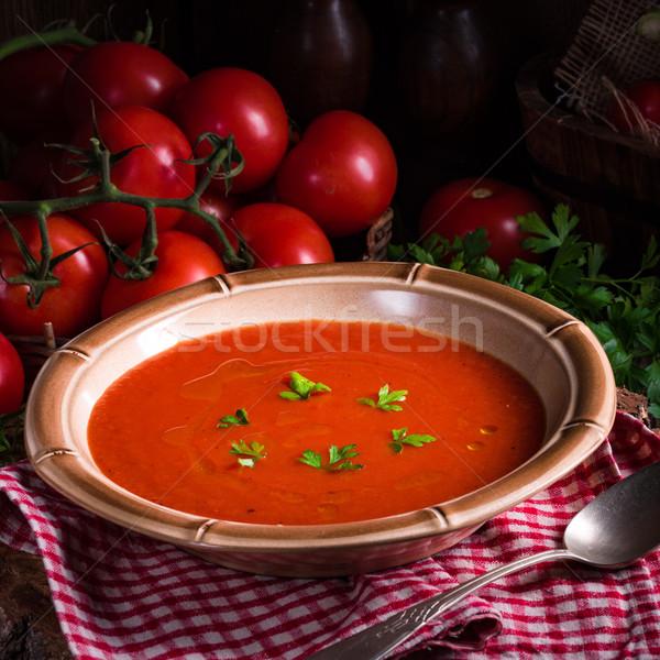 Stockfoto: Rustiek · tomatensoep · najaar · tomaat · hot · lunch
