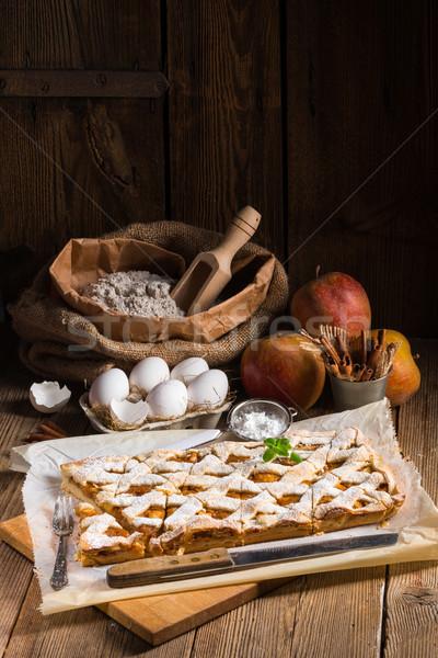 яблоко фрукты фон пластина осень завтрак Сток-фото © Dar1930