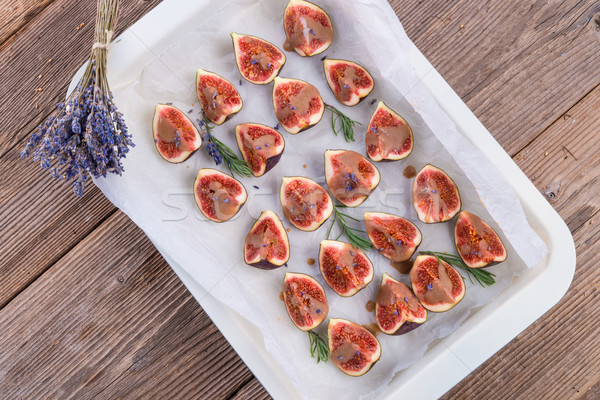 Stock photo: baked figs with caramel