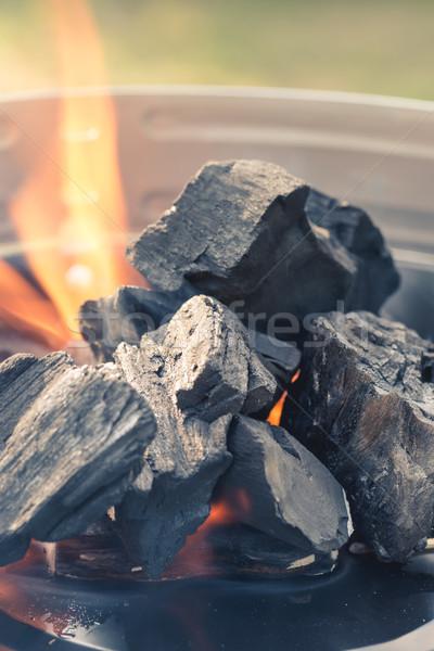 燃焼 木炭 火災 木材 背景 煙 ストックフォト © Dar1930