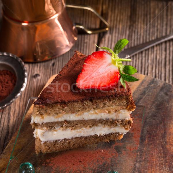 Tiramisu eprek gyümölcs torta étterem vacsora Stock fotó © Dar1930